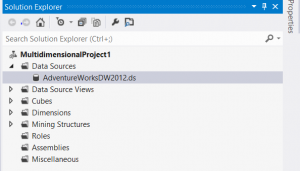 Visual Studio - Solution Explorer - SSAS - Data Source