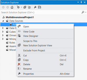 Visual Studio - SSAS Solution - Open Data Source